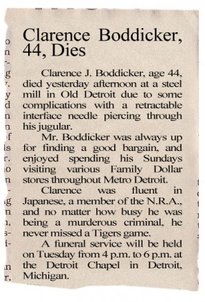 1987 Obituary For Clarence Boddicker